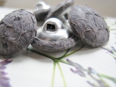 Roð grey fish leather buttons